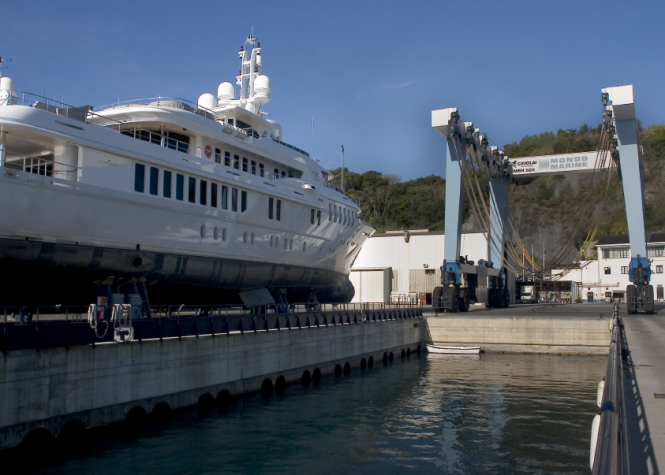 54m Adamas yacht under refit at Mondo Marine
