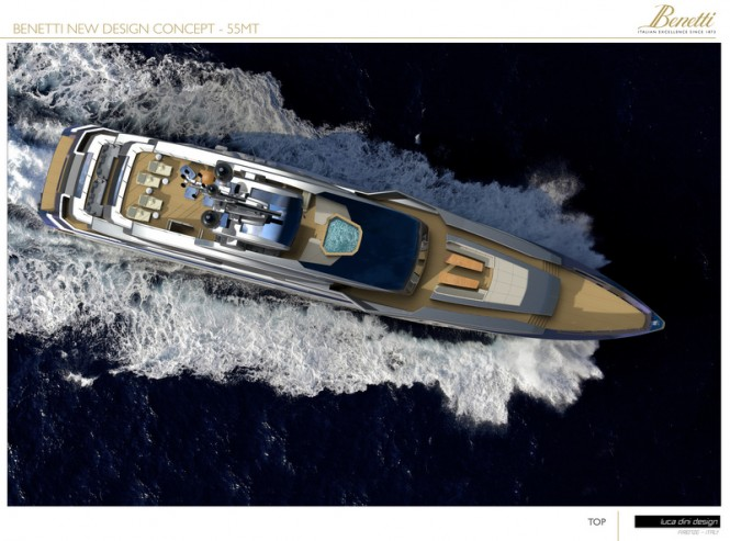 55m Luca Dini superyacht concept - view from above