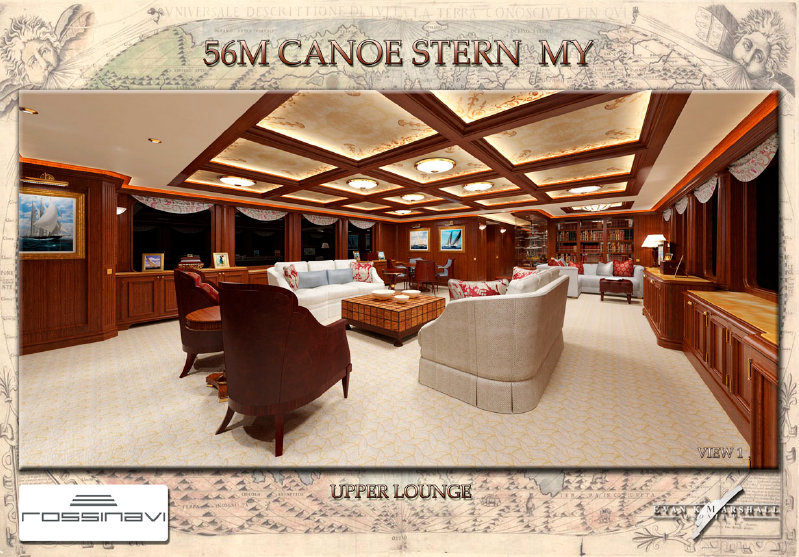 56m Rossinavi Canoe Stern Luxury Yacht - Upper Lounge