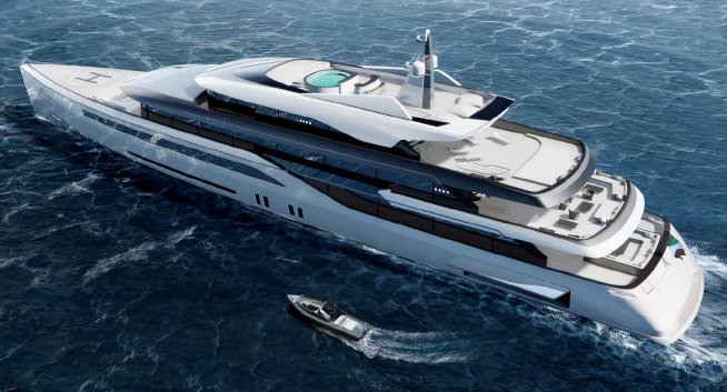 70m Quartostile luxury yacht concept with tender