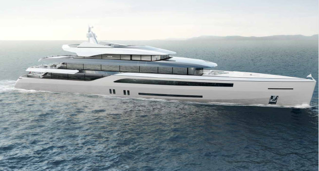 70m Quartostile superyacht concept - side view