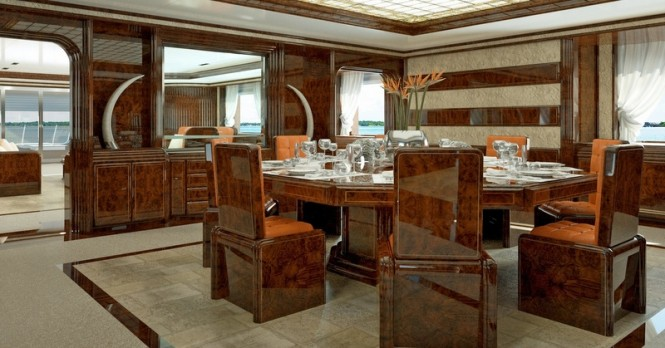 72m Luca Dini and Stefano Ricci Superyacht Project - Dining Area