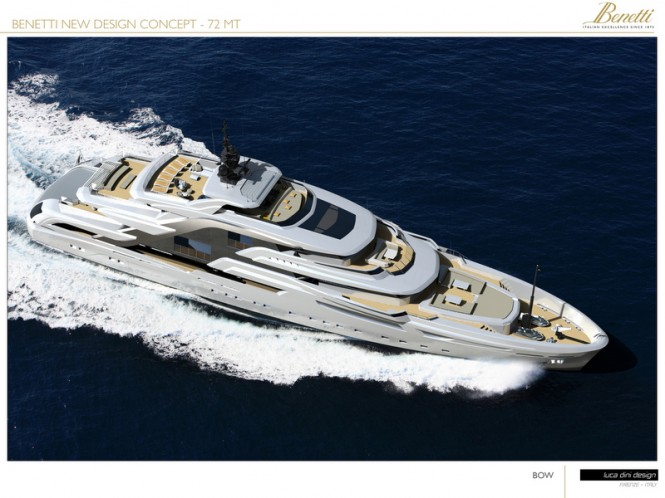 72m Luca Dini megayacht concept - view from above