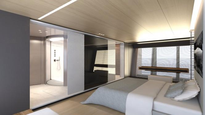 Beautiful master stateroom aboard the 39m SCARO Design Explorer superyacht
