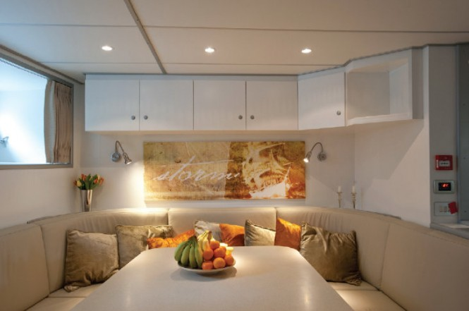 Crew mess aboard luxury yacht Be Mine after refit by Huisfit