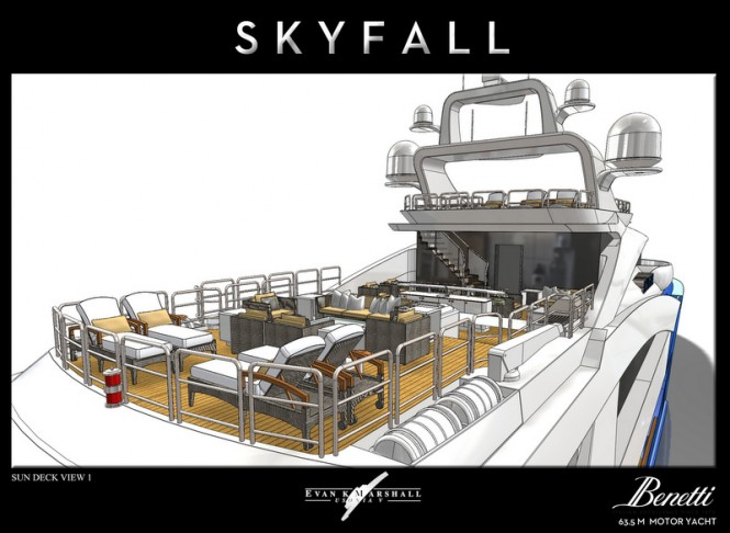 Evan K Marshall designed Skyfall yacht concept - Sun Deck