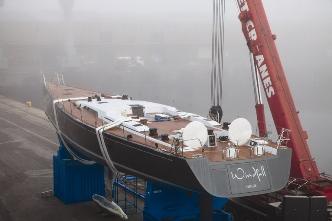 Launching of the Windfall superyacht