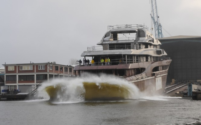 Lurssen superyacht Global hits the water