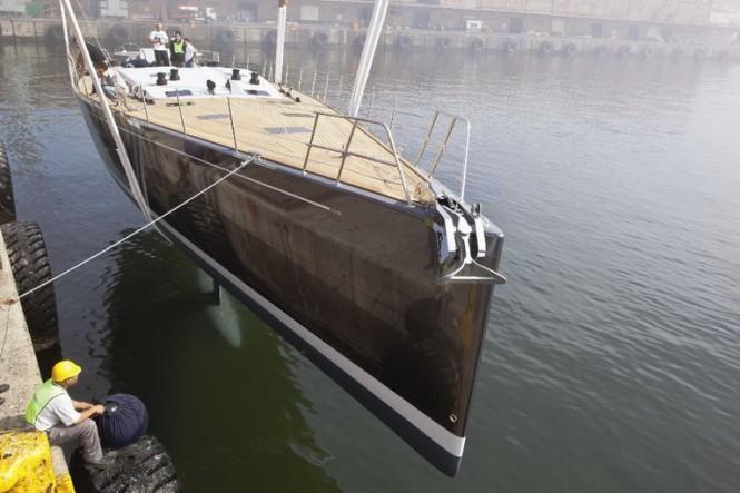 Luxury sailing yacht Windfall hitting the water