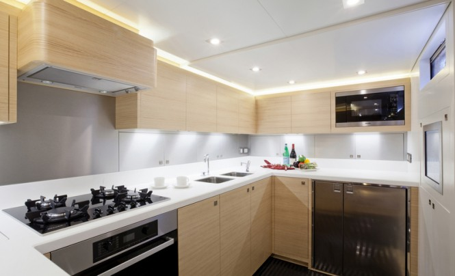 Luxury yacht Hamilton - Galley Photo by Justin Ratcliffe