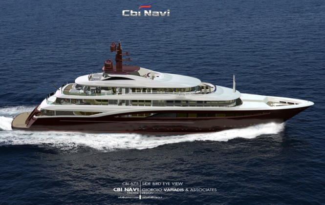 Megayacht Cbi 675 project - side view