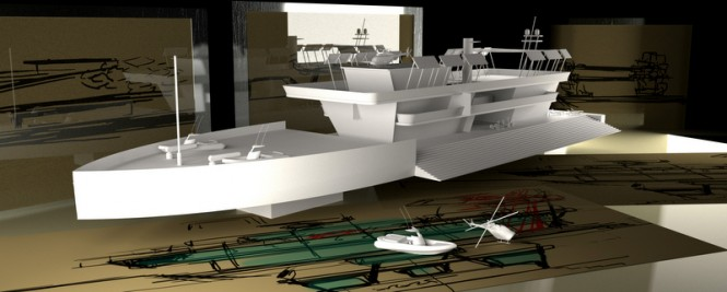 Model of the 80m superyacht Nemus Dianae concept