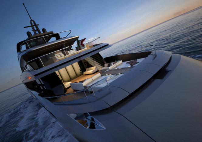 Mondo Marine M50 yacht project designed by Hot Lab - Passerelle dividing the sun pads