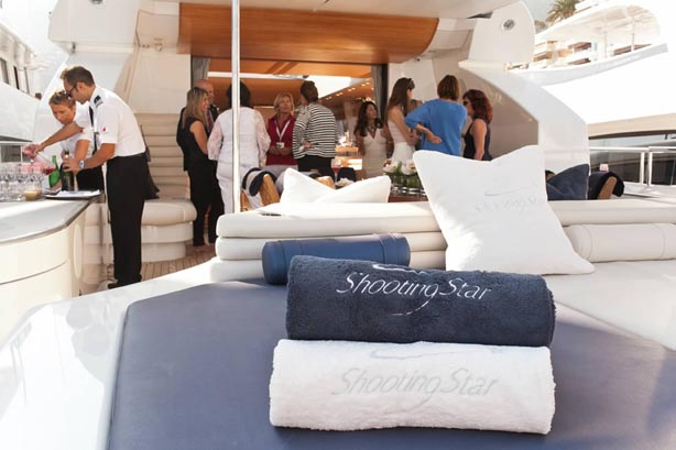 On board luxury motor yacht Shooting Star