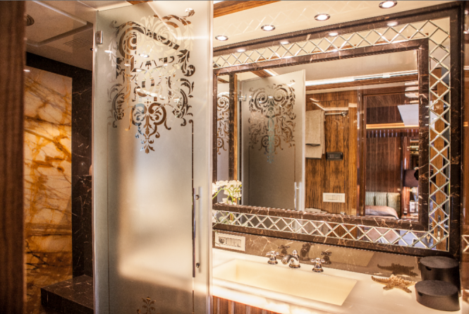 Owner Bathroom aboard luxury yacht OKKO launched in 2012