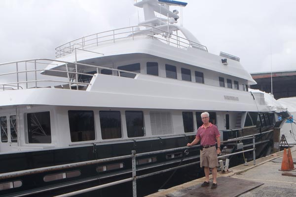 Ron Holland with the 45m Cheoy Lee superyacht Dorothea III 