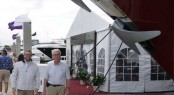 Ron and Rob with Mazu superyacht at the 2012 FLIBS