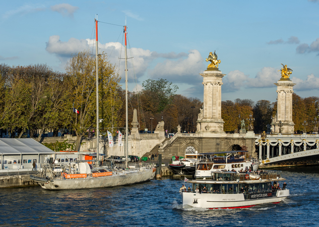 Superyacht Tara docked next to the Pont Alexandre III