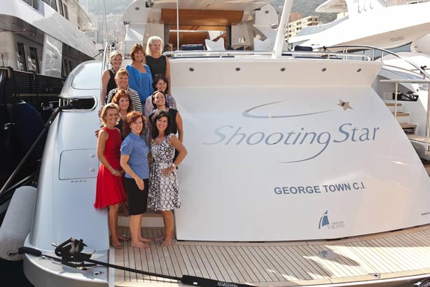 The 'Women in Yachting and Ocean Advocacy' event's participants aboard Shooting Star yacht