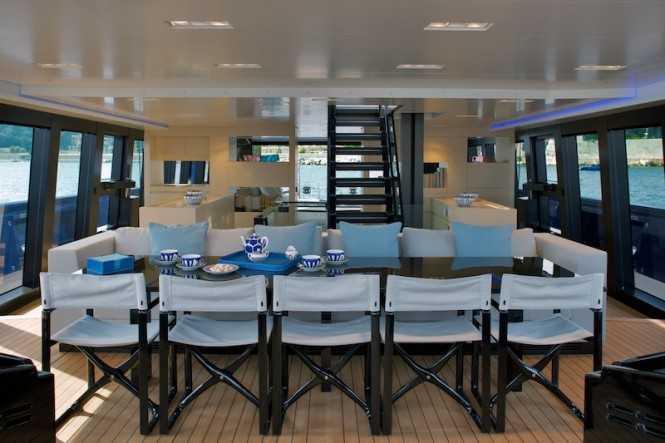 Wally 50m Better Place - dining area looking aft - Photo Toni Meneguzzo