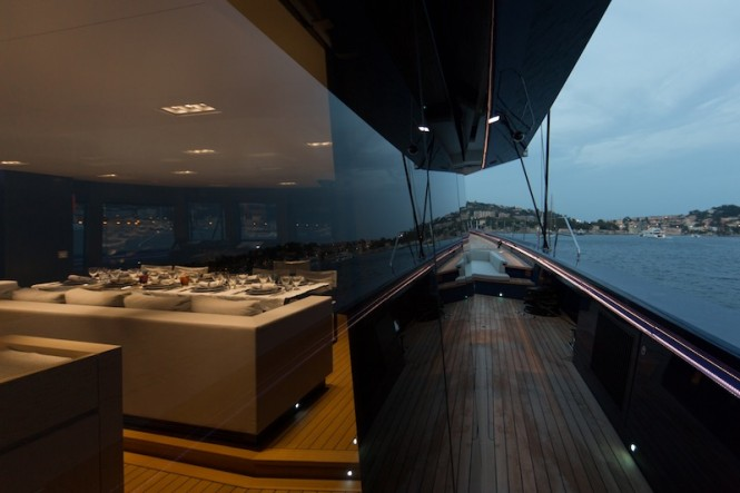 Wally50m Better Place yacht - Glass deck house starboard side looking forward - Photo Gilles Martin-Raget