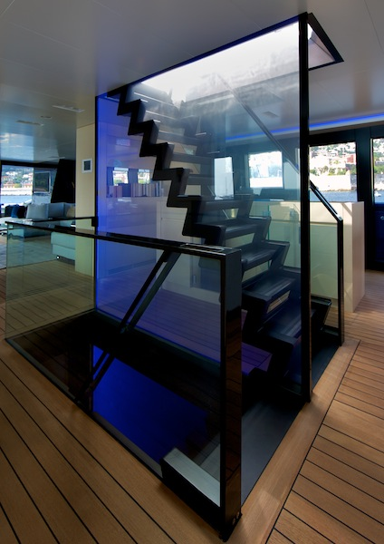 Wally50m Better Place yacht main staircase accessing sun deck above and guest night area below  - Photo Toni Meneguzzo