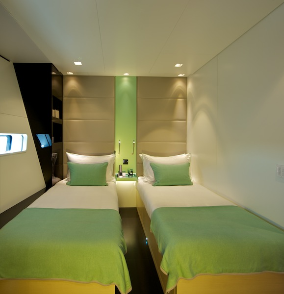 Wally50m Better Place - Twin guest cabin with metallic green colour theme_ph. Toni Meneguzzo