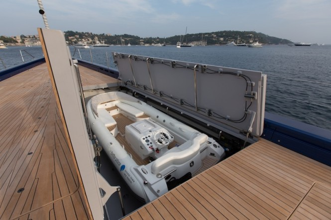 Wally50m luxury sailing yacht Better Place - One of the two tender garages in the forward deck - Photo Gilles Martin-Raget