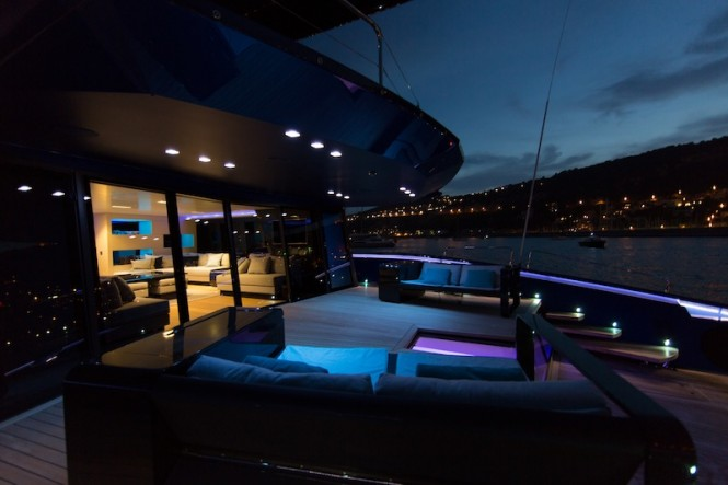 Wally50m superyacht Better Place - Aft deck social area at night Photo Gilles Martin-Raget