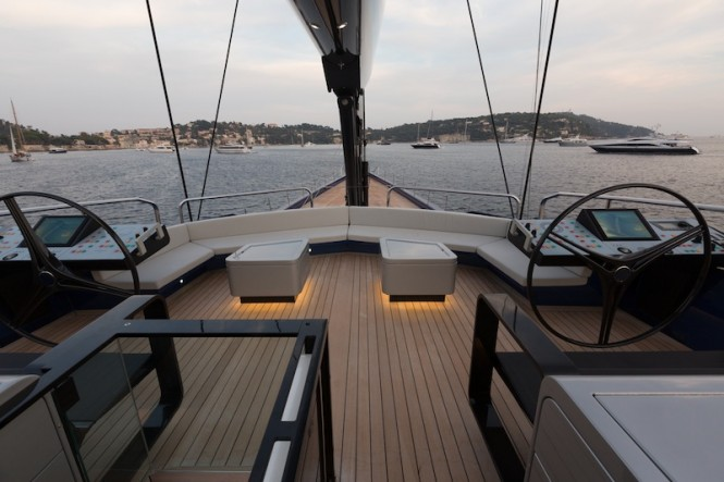 Wally50m luxury yacht Better Place - Sundeck forward social area - Photo by Gilles Martin-Raget