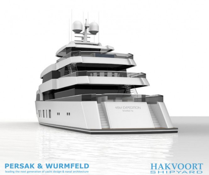 45m Persak Wurmfeld Yacht Project for Hakvoort - rear view
