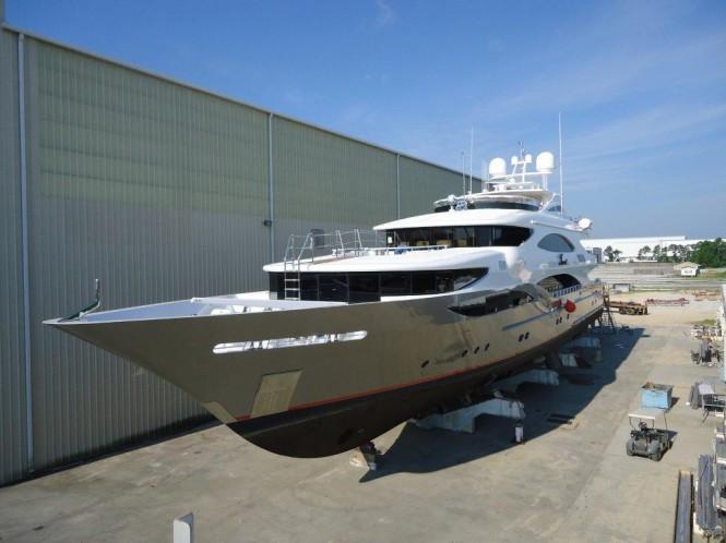 50m Trinity Superyacht Tsumat (T057) Leaving the Yard