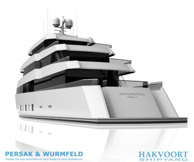60m Persak Wurmfeld Yacht Concept for Hakvoort - rear view