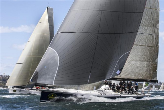 BLACK JACK yacht charges down Sydney Harbour - Photo by Rolex-Daniel Forster