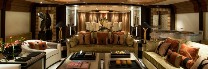 Beautiful interior of the 65m Amels superyacht Sea Rhapsody designed by Andrew Winch