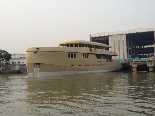 Hull of the 44m expedition yacht Green Voyager in water for the first time