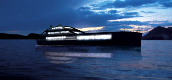 Jolly Roger superyacht design by night