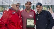 Line honours presentation - (L to R) Bob Oatley (sailing yacht Wild Oats XI owner), Mark Richards (Wild Oats XI skipper) and Patrick Boutellier (Rolex Australia) - Photo Rolex - Carlo Borlenghi