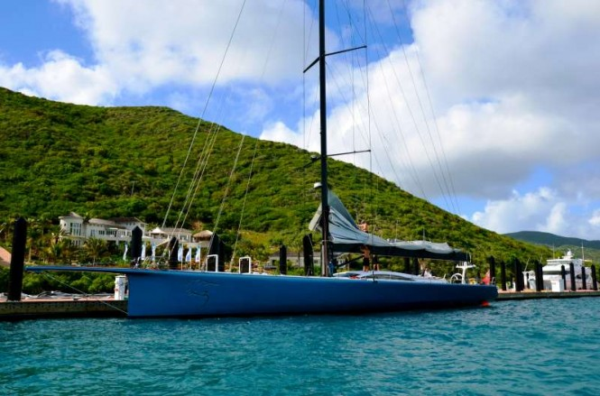 Luxury charter yacht Ran Leopard moored at YCCS Marina, Virgin Gorda (BVI) Photo credit YCCS