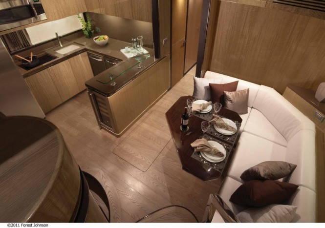 Luxury yacht Alpha 76' Express - Galley and Dining Photo by Forest Johnson