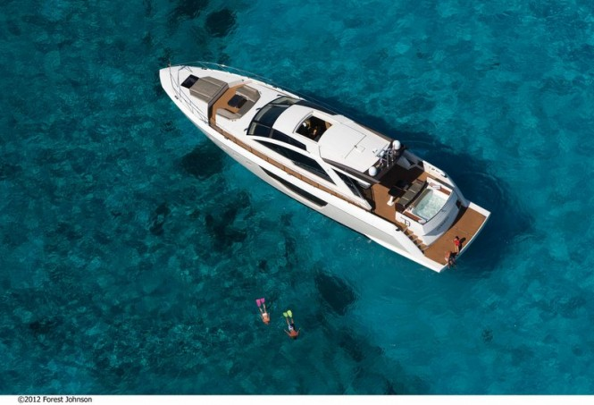Luxury yacht Alpha 76' Express - view from above Photo by Forest Johnson