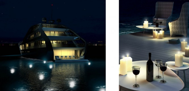 Luxury yacht Jolly Roger concept - rear view