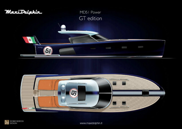 Maxi Dolphin MD51 Power GT yacht tender presented at the 2012 Cannes Boat Show