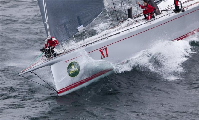 Maxi yacht Wild Oats Xi after the start - Photo credit Rolex Daniel Forster