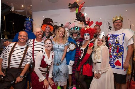 Motor yacht Lady Linda at the Falmouth Harbour Marina  with a fantastic Alice in Wonderland Party