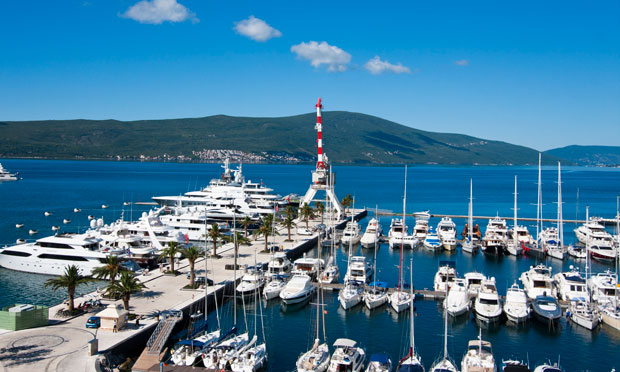 Superyacht marina Porto Montenegro in the Bay of Kotor