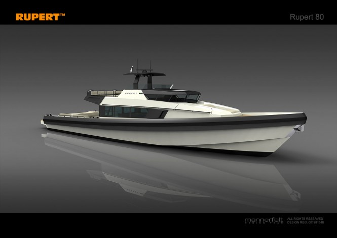Rendering of the luxury motor yacht Rupert 80 in build at Rupert Marine