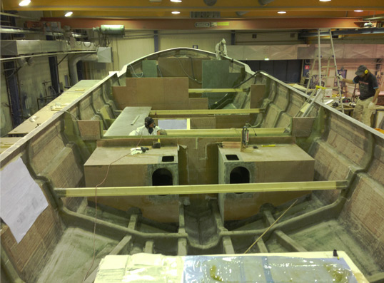 Rupert Marine working on the 80ft luxury motor yacht Rupert 80
