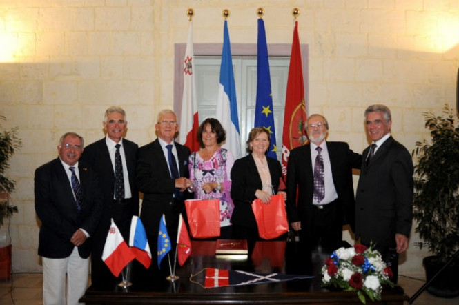 The signing ceremony at the Auberge de France Malta