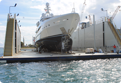 Underwater coatings application on bulbous bow of the Sunrise yacht